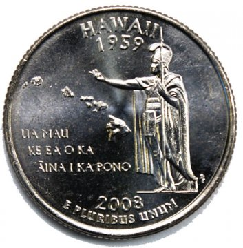 2008 Hawaii State Quarter Coin - P or D Mint - BU