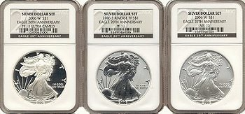 2006 3-Coin American Silver Eagle 20th Anniversary Set - NGC MS/PF-69
