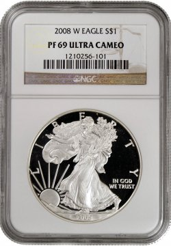2008-W 1 oz American Proof Silver Eagle Coin - NGC PF-69 Ultra Cameo