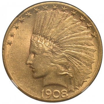 $10.00 Indian Head Gold Eagle Coins - Random Dates - XF/AU