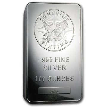 100 oz Silver Bar - Sunshine Minting (Mint Mark SI)