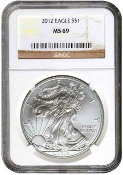 2012 1 oz American Silver Eagle Coin - NGC MS-69