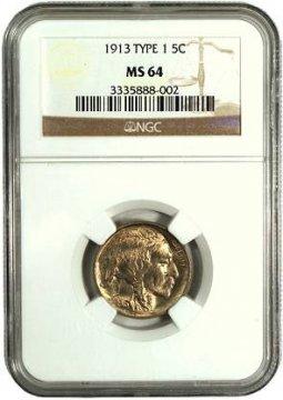 1913 Buffalo Nickel Coin - Type 1 - NGC/PCGS Certified MS-64