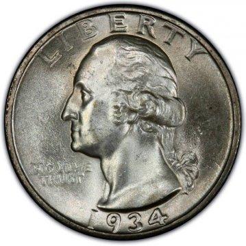 1934 Washington Silver Quarter Coin - Light Motto - Choice BU