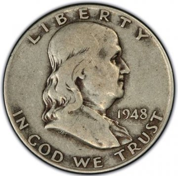1948-1963 20-Coin 90% Silver Franklin Half Dollar Roll - Avg. Circ.