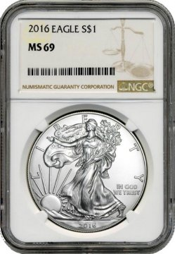 2016 1 oz American Silver Eagle Coin - NGC MS-69