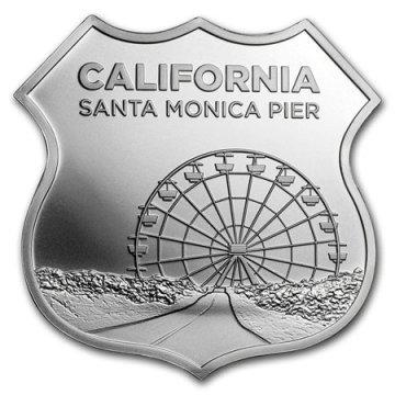 1 oz Silver - Icons of Route 66 Shield Series - California Santa Monica Pier