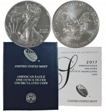 2017-W 1 oz American Burnished Silver Eagle Coin - Gem BU (w/ Box & C.O.A.)