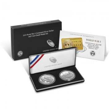 2018 World War I Commemorative Silver 2 Piece Coin Set (Coast Guard)