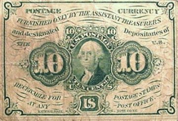 1st Issue 1862 10 Cents Fractional Currency - Civil War Era - Fine or Better