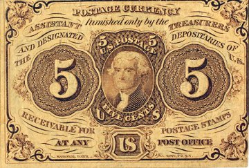 1st Issue 1862 5 Cents Fractional Currency - Civil War Era - Fine or Better