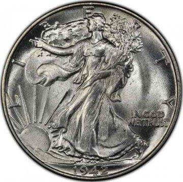 1942 Walking Liberty Silver Half Dollar Coin - BU