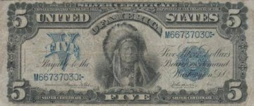 1899 $5.00 Indian Chief Silver Certificate - Large Type - Fine