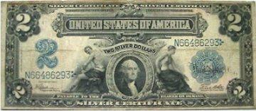 1899 $2.00 Silver Certificate - Large Type - Fine