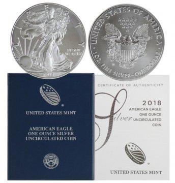 2018-W 1 oz American Burnished Silver Eagle Coin - Gem BU (w/ Box & C.O.A.)