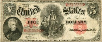 1907 $5.00 Legal Tender Woodchopper Note - Large Type - Fine