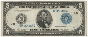 1914 $5.00 Federal Reserve Note - Large Type - Fine