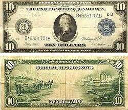 1914 $10.00 Federal Reserve Note - Large Type - Fine