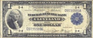 1918 $1.00 Federal Reserve Bank Note - Large Type - Very Fine