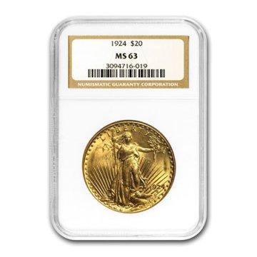 $20.00 Saint Gaudens Gold Double Eagle Coins - Random Dates - PCGS or NGC MS-63