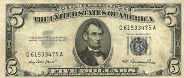 1953 $5.00 U.S. Silver Certificate - Blue Seal - Fine / Very Fine