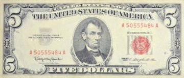 1963 $5.00 U.S. Note - Red Seal - Extremely Fine