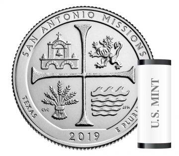 2019 40-Coin San Antonio Missions Quarter Rolls - S Mint - BU