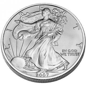 2007-W 1 oz American Burnished Silver Eagle Coin - Gem BU (w/ Box & C.O.A.)