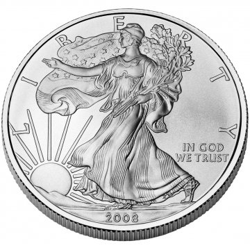 2008-W 1 oz American Burnished Silver Eagle Coin - Gem BU (w/ Box & C.O.A.)