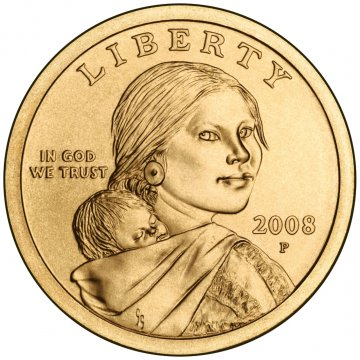 2008 Sacagawea Golden Dollar Coin - P or D Mint