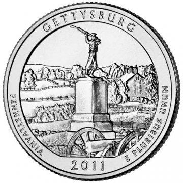 2011 Gettysburg Quarter Coin - P or D Mint - BU