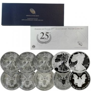 2011 5-Coin American Silver Eagle 25th Anniversary Set - (w/ Box & COA)