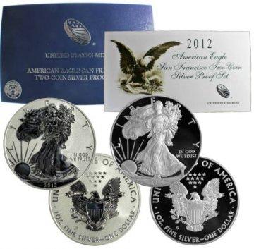 2012-S 2-Coin American Silver Eagle San Francisco 75th Anniversary Set - (w/ Box & COA)