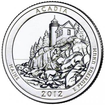 2012 Acadia Quarter Coin - P or D Mint - BU