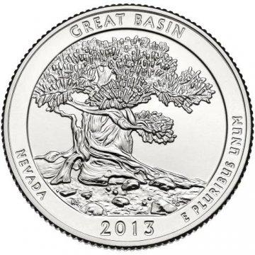 2013 Great Basin Quarter Coin - P or D Mint - BU