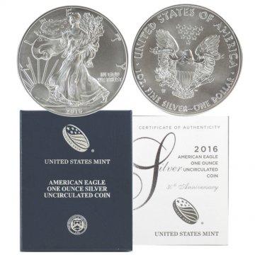 2016-W 1 oz American Burnished Silver Eagle Coin - Gem BU (w/ Box & C.O.A.)