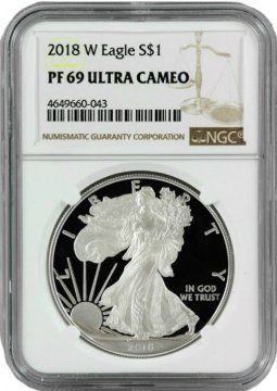 2018-W 1 oz American Proof Silver Eagle Coin - NGC PF-69 Ultra Cameo