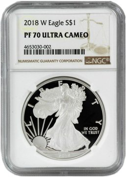 2018-W 1 oz American Proof Silver Eagle Coin - NGC PF-70 Ultra Cameo