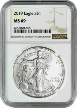 2019 1 oz American Silver Eagle Coin - NGC MS-69