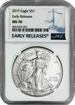 2019 1 oz American Silver Eagle Coin - NGC MS-70 Early Releases