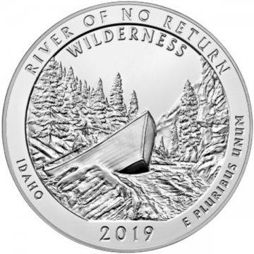 2019 5 oz ATB River of No Return Wilderness Silver Coin - Gem BU (In Capsule)