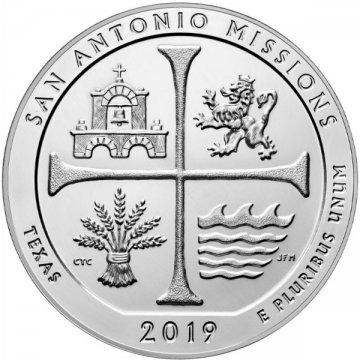 2019 5 oz ATB San Antonio Missions Silver Coin - Gem BU (In Capsule)