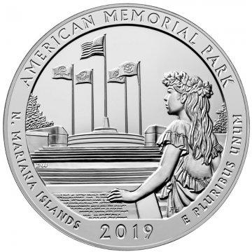 2019 5 oz Silver ATB American Memorial Park Coin - Gem BU (In Capsule)