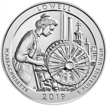 2019 5 oz Silver ATB Lowell Coin - Gem BU (In Capsule)