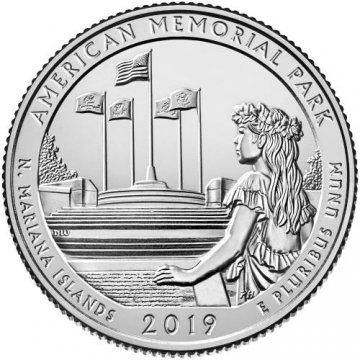 2019 American Memorial Quarter Coin - P or D Mint - BU