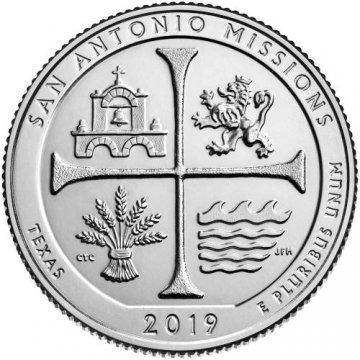 2019 San Antonio Missions Quarter Coin - S Mint - BU