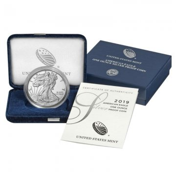 2019-S 1 oz Proof American Silver Eagle Coin - Gem Proof Condition - w/ Box and COA