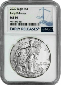 2020 1 oz American Silver Eagle Coin - NGC MS-70 Early Release
