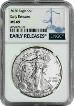 2020 1 oz American Silver Eagle Coin - NGC MS-69 Early Release