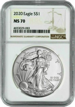 2020 1 oz American Silver Eagle Coin - NGC MS-70